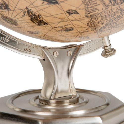 Jodocus Hondius 1627 World Globe Pewter Stand Tabletop Decor