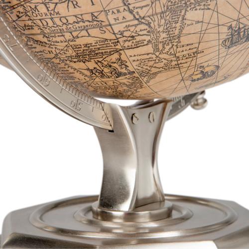 Jodocus Hondius 1627 World Globe Pewter Finish Round Stand