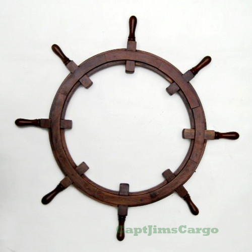 Ship's Steering Wheel Teak Wood Picture Frame
