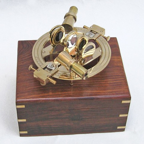 Round Brass Sextant Wooden Case Boat Decor