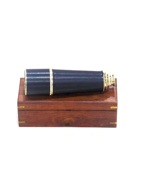 Brass Pirate Spyglass Wooden Case Handheld Telescope