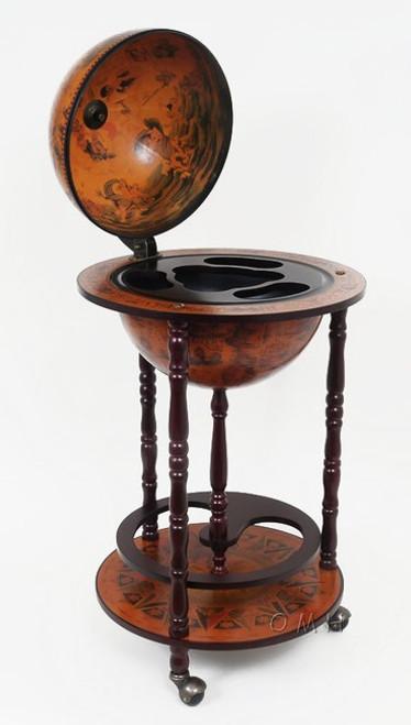 Old World Globe Wood Hidden Bar Cart