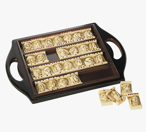 Dutch Renaissance Domino Game Set Wooden Tray