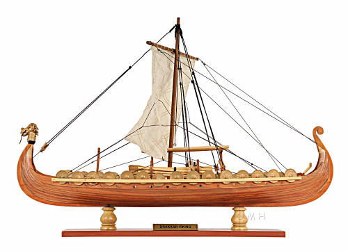 Drakkar Dragon Viking Ship Wooden Model Sailboat