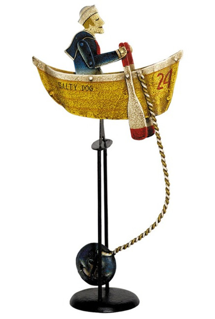 Salty Dog Rowing Sailor Tin Balance Toy