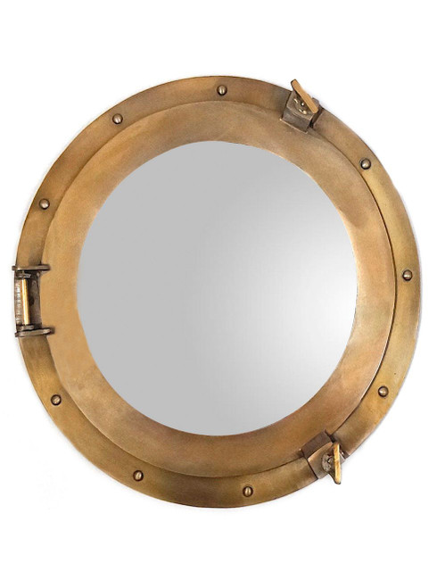 Aluminum Antiqued Brass Finish Porthole Mirror Round
