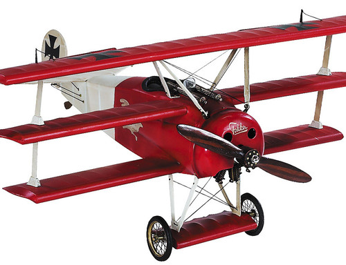Red Barons Fokker Triplane Airplane Wood Model