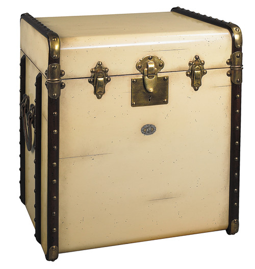Stateroom End Table Ivory Steamer Travel Trunk