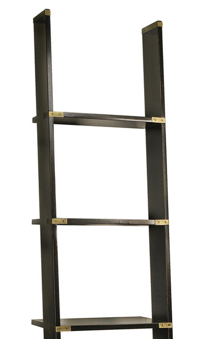 Nautical Campaign Library Ladder Black Cabinet Bookcase