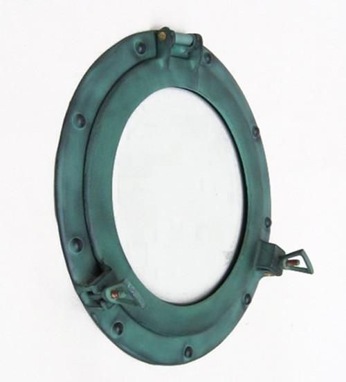 Aluminum Green Finish Porthole Glass Window Round
