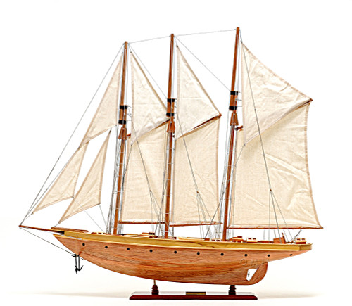 Atlantic Yacht Wood Topsail Schooner Model Gaff Rigged