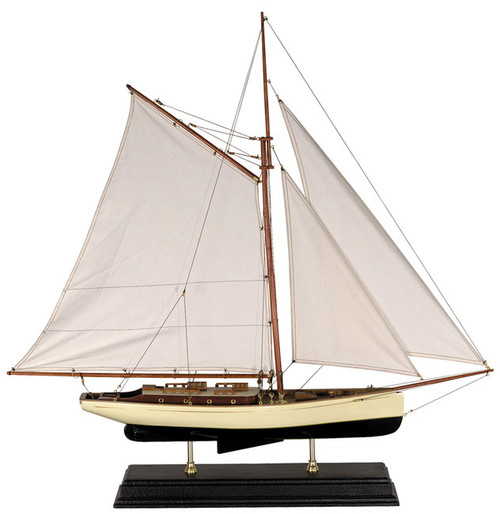 1930s Classic Yacht Wooden Model Sailboat Decor