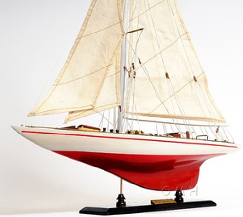 Endeavour America's Cup Painted Wooden Model Sailboat