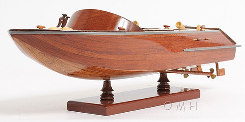 Handcrafted Classic Runabout Speed Boat Wood Model