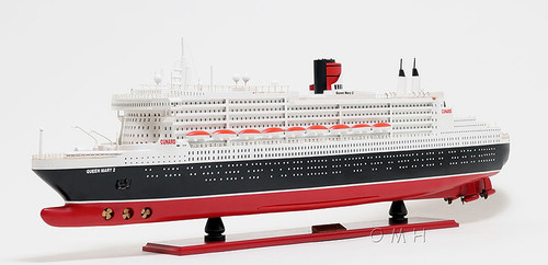 Queen Mary 2 Ocean Liner Wooden Model Cunard