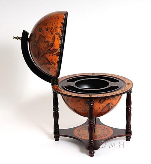 Old World Globe Hidden Table Top Bar