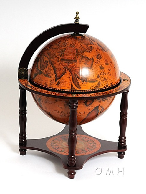 Old World Globe Hidden Table Top Bar