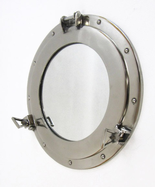 Aluminum Chrome Finish Ship's Cabin Porthole Mirror