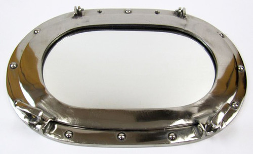 Aluminum Ships Oval Porthole Mirror Chrome Finish