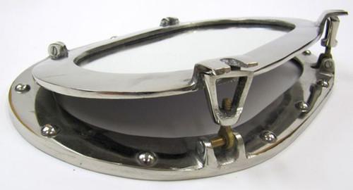 Oval Porthole Oblong Mirror Chrome Nautical Decor