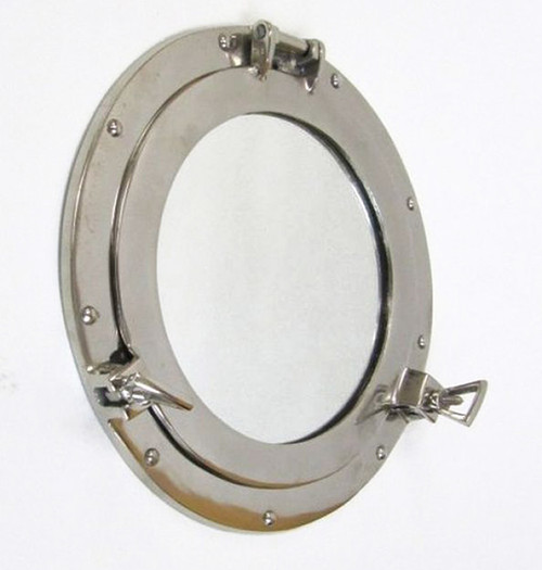 Ship's Cabin Porthole Mirror Aluminum Chrome Finish