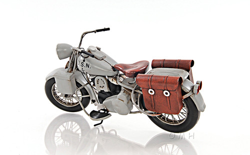 1939 Harley Davidson Grey Motorcycle Metal Model
