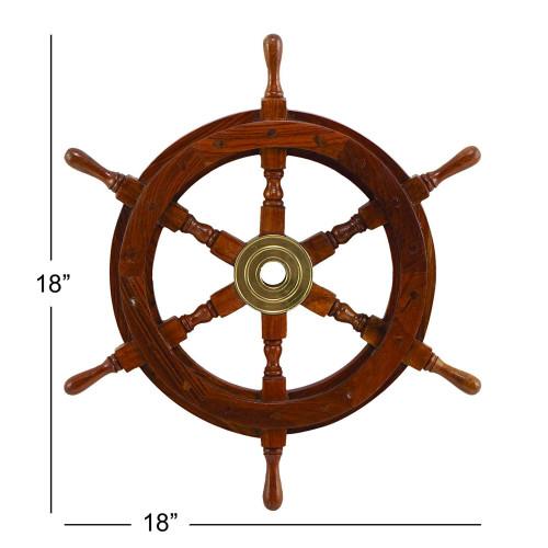 "Teak Ship's Steering Wheel 18"" Brass Hub Nautical Wall Decor"
