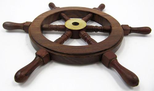 Teak Ships Steering Wheel Wooden Brass Hub