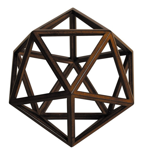 Icosahedron 3D Geometric Water Wooden Model Polyhedron