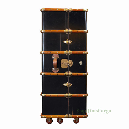 Stateroom Armoire Black Travel Trunk Antiqued Finish