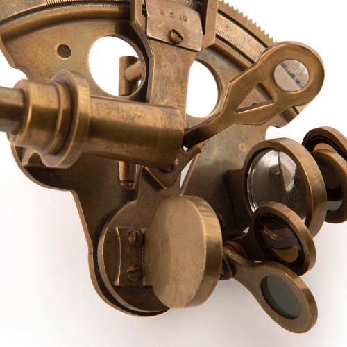 Bronze Pocket Sextant Antiqued Nautical Astrolabe Decor