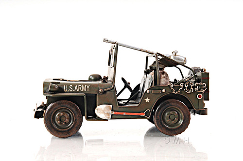 1940 Willys Army Military Jeep Quad Metal Model