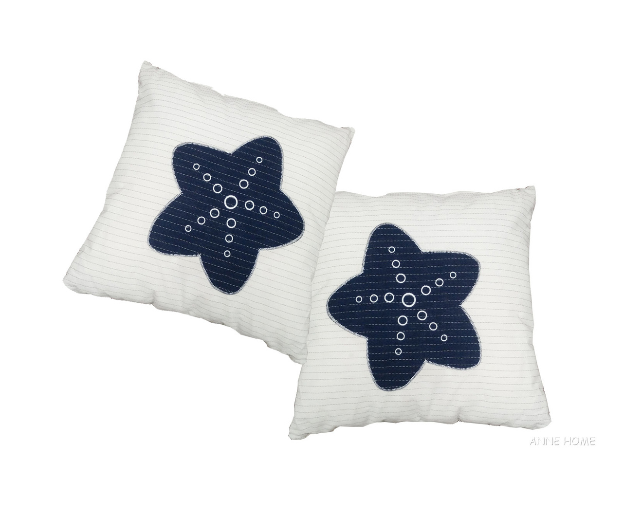 Throw Pillows White W Navy Blue Starfish 16 Set Of 2 Coastal Decor Captjimscargo