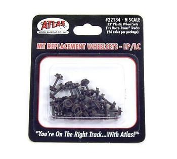 """Atlas 22134 N Plastic LP Wheels, 33""""/Microtrains (24)"""
