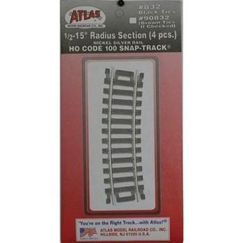 """Atlas 832 HO Code 100 Nickel Silver 1/2-15"""" Radius Snap-Track"""