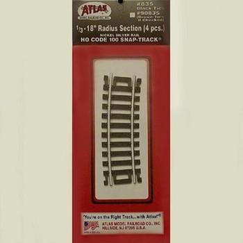 """Atlas 835 HO Code 100 Nickel Silver 1/3-18"""" Radius Snap-Track (4/PK)"""