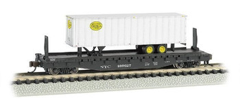 "Bachmann 16753 N Scale 52'6"" Flat Car with 35' Ribbed Piggyback Trailer NYC"