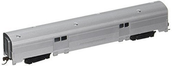 Bachmann 14654 N Scale Streamline Fluted 2-Door Baggage Car - Unlettered Aluminum 72'