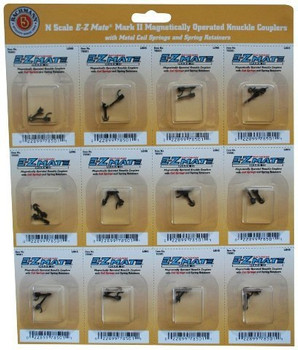 Bachmann Trains E - Z Mate Mark II Magnetic Knuckle Couplers with Metal Coil Spring - Short (12 Coupler pairs per card)