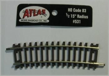 """Code 83 Nickel Silver 1/2-15"""" Radius Snap Track HO Scale Atlas Trains"""