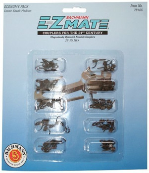 Bachmann Trains E-Z Mate Magnetic Knuckle Couplers - Economy Pack - Center Shank - Medium (25 Coupler pairs per card) -