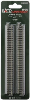 """Kato 20-010 N Scale Unitrack 7 5/16"""" 186mm Straight Track - 4 per package"""