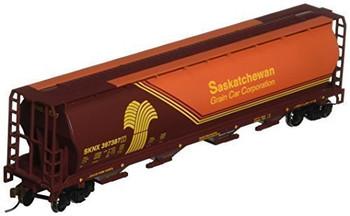 Bachmann 19140 HO Scale Saskatchewan- Wheat Herald 4 Bay Cylindrical Grain Hopper