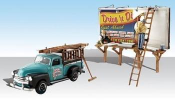 Autoscene Sign Slingers w/Pickup Truck & Figures