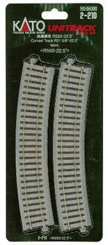 "Kato 2-210 HO Scale 550mm 21-5/8"" Radius Curve 22.5-Degree (4)"