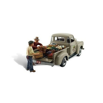 Autoscene Paul's Fresh Produce Pickup Truck w/Figures HO Scale Woodland Scenics
