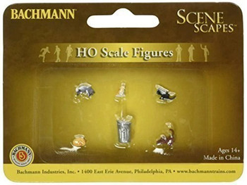 Bachmann 33107 HO Scale Cats with Garbage Can (6pcs/pk)