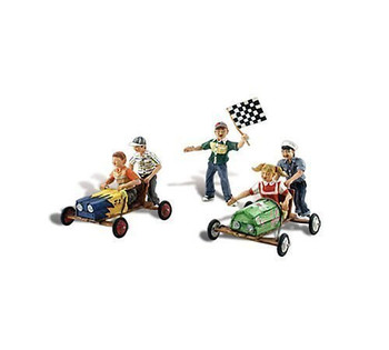 Scenic Accents Downhill Derby Racing (5 Children w/2 Carts) HO Scale Woodland Scenics