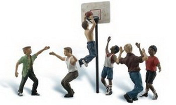 Woodland Scenics O Scale Scenic Accents Figures/People Set Shootin' Hoops (6)