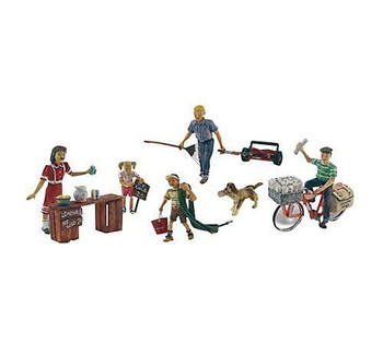 Summertime Jobs (Paperboy, Lawn Boy, Lemonade Stand w/3 Figures & Dog) HO Scale Woodland Scenics